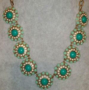 J. Crew Gold, Faux Turquoise Flower Statement